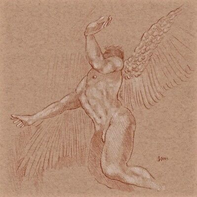 ORIGINAL NUDE MALE FIGURE ANGEL 10x10 RED WHITE CHALK PASTEL DRAWING