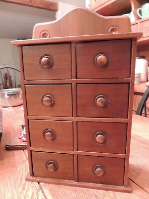 Vintage Hanging 8 Drawer Wood Country Antique Spice/ Apothecary Cabinet