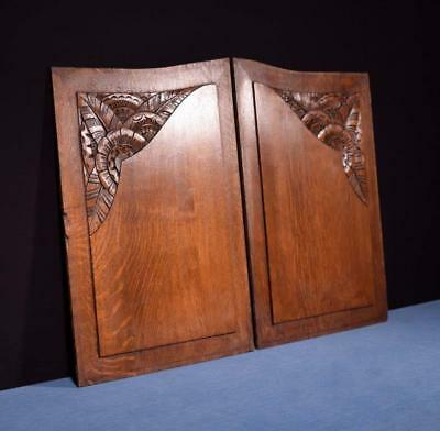 *Pair of French Art Deco Hand Carved Panels in Oak Wood Salvage