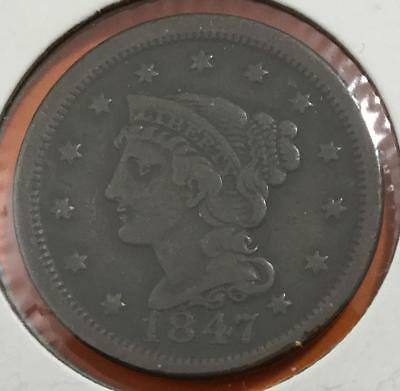 1847 US Very Fine Braided Variety LARGE CENT! Nice! Old US Coins!