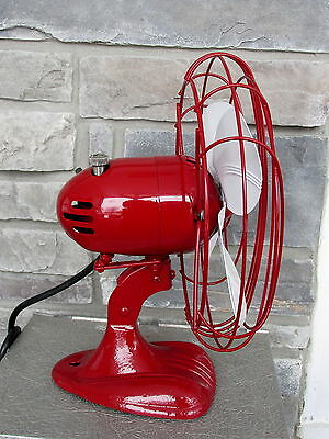 Vintage Electric Oscillating Fan Refurbished Regal Red Custom Paint Working