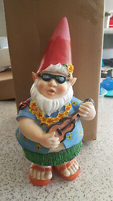 34Cm Tall Hawaiian  Garden Gnome With Ukulele - Outdoor Novelty Garden Gnome