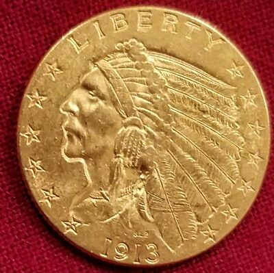 1913 $2 1/2 Indian Head Gold Coin Quarter Eagle Very Nice Coin 2 dollar US Gold