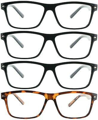 b48025fb34c Fiore 4 Pack Reading Glasses Clear Lens Square Frame Readers for Men and  Women