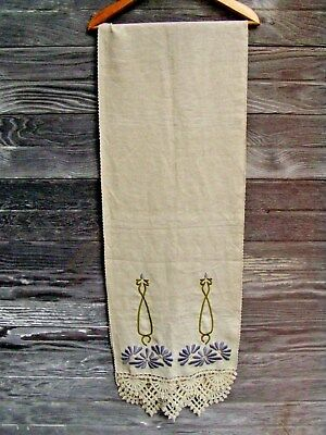 "Antique Arts & Crafts Mission Stickley Era Linen Embroidered Table Runner  88""!"