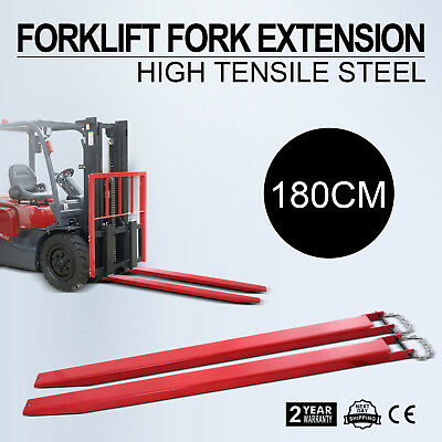 "180CM Forklift Pallet Fork Extensions Pair Industrial Retaining Fit 4"" Width"