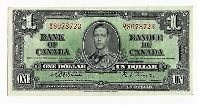 1937 Bank of Canada $ 1 one Dollar Banknote , Rare Osbourne Towers Signature