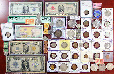 Old Man Estate Collection Junk Drawer Lot Silver Key Coins $2.5 Gold 1878 8TF $1