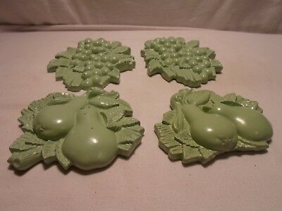Vintage Chalkware Lot of 4 Grape and Pear Wall Hangings