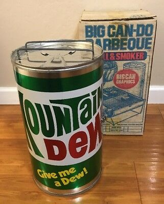 New Vintage 1970's Mountain Dew Metal Barbeque Grill Soda Pop Can