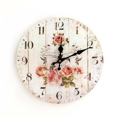 Round Vintage Wall Clock French Country Tuscan Style Paris 11