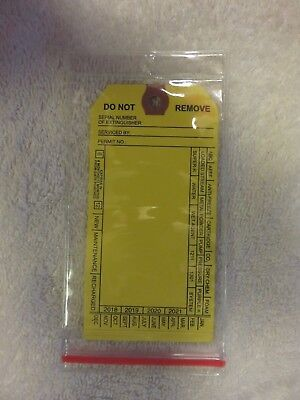 """Lot Of 50-H.d. Resealable Zip-Lock Fire Extinguisher Tag Covers 3 5/16"""" X 6 3/4"""