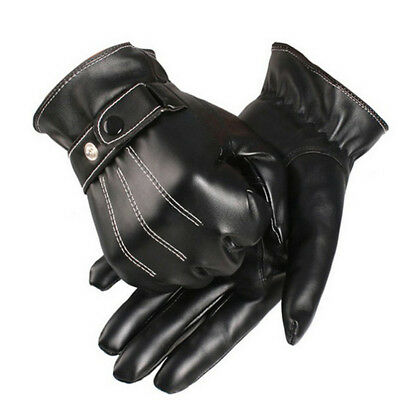Men's Winter Gloves Leather Mitten Motorcycle Hand Gloves in Black 1 Pair New