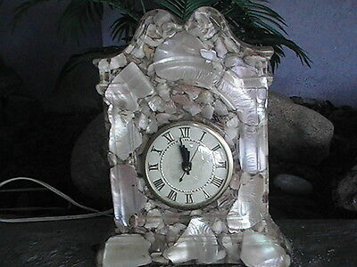 Vintage Lanshire Abalone Mother Of Pearl Mantle Clock Resin Encased