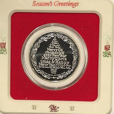 Merry Christmas Tree Happy New Year 1 Troy Oz .999 Fine Silver Round Coin Medal