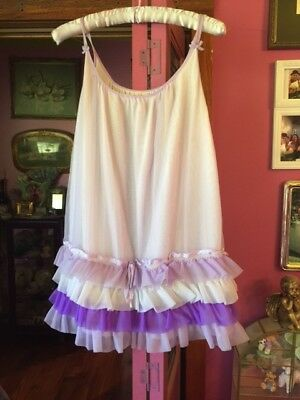 Vintage 1970's Tiered Ruffle Purple Soft Nylon Babydoll Mini Night Dress M-L EUC