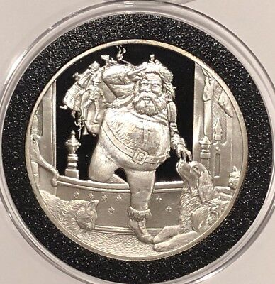 Santa Delivering Bag Of Toys Christmas 1 Troy Oz .999 Fine Silver Round Coin 999