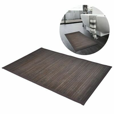 2 Bamboo Wood Wooden Rectangular Bathroom Bath Shower Mats 40 x 50 cm Dark Brown