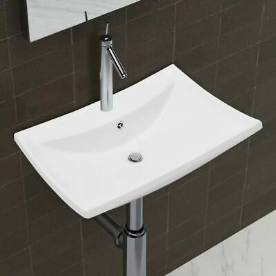 Bathroom Ceramic Basin Vessel Sink Wash Basin Rectangular White 60x44x17 cm