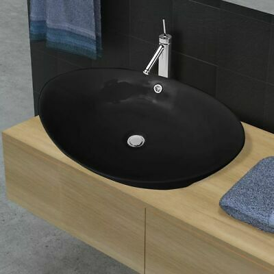 Bathroom Black Oval Round Above Counter Top Ceramic Basin Bowl Overflow Vanity