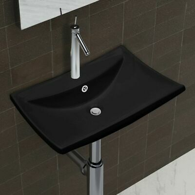 vidaXL Luxury Ceramic Basin Rectangular with Overflow & Faucet Hole Black