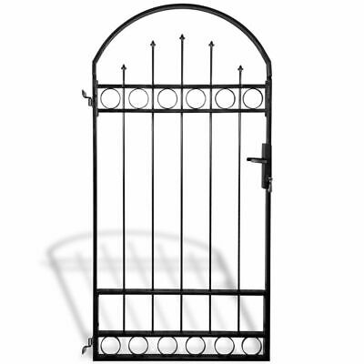 vidaXL Garden Fence Gate Fencing Barrier Wall Back Yard Grille with Arched Top