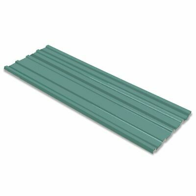 vidaXL 12x Roof Panels Galvanised Steel Green Garage House Shed Roofing Covers