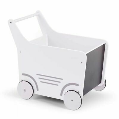 CHILDWOOD Wooden Toy Stroller Baby Walker Activity Push Along White WODSTRW