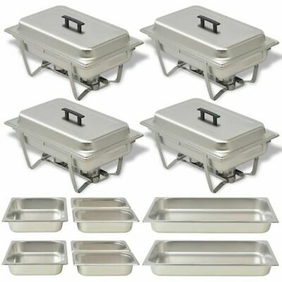 vidaXL 4x Chafing Dish Set Stainless Steel Lid Food Water Pan Stand Burner