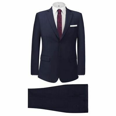 vidaXL Men's Two Piece Business Suit Navy Size 46 Wedding Jacket Trousers