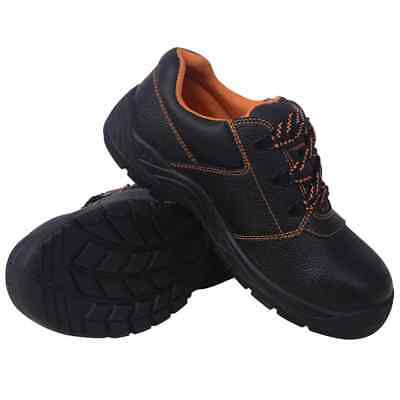vidaXL Safety Shoes Black Size 12.5 Leather Men Protective Work Boots Footwear