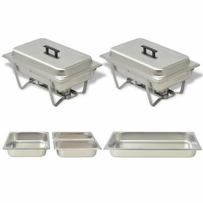 vidaXL 2 pcs Chafing Dish Set Stainless Steel Lid Food Water Pan Stand Burner