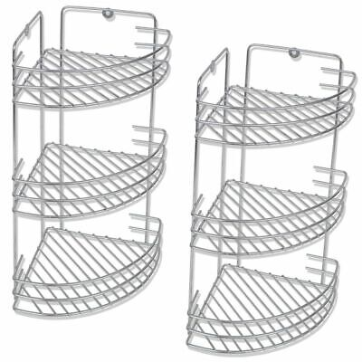 vidaXL 2 pcs Three-Tier Bathroom Shower Corner Storage Shelves Organisers Metal