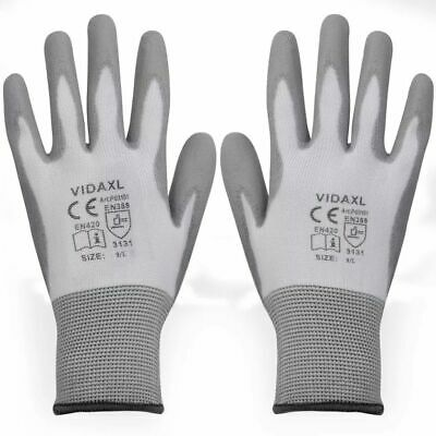 vidaXL Work Gloves PU 24 Pairs White and Grey Size 9/L Hand Safety Equipment