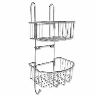 Metal Shower Shelf 2-Tier with 2 Hangers Silver Rustproof Durable Bathrrom