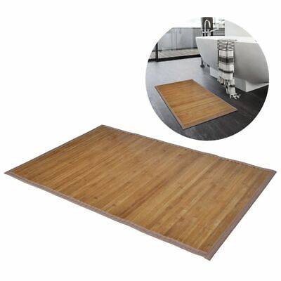 2 Bamboo Wood Wooden Rectangular Bathroom Bath Shower Mats 40 x 50 cm Brown