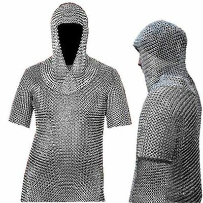 "Unidecor Medieval Chain Mail 50"" Shirt and Coif Armor Set Full Size"