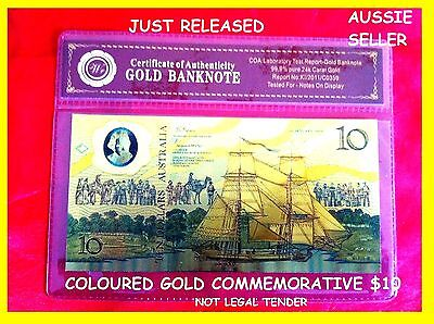 1988 $10 DOLLAR BANKNOTE 24kt GOLD AUSTRALIAN BICENTENARY 3D COLOURED BANK NOTE