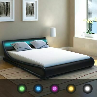 vidaXL Bed Frame with LED 4FT6 Double/135x190 cm Artificial Leather Bedroom