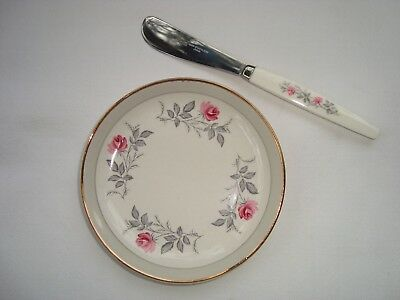 Lovely vintage MYOTT boxed butter dish + matching knife in Royal Bride pattern