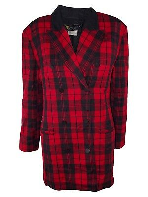 laurel giacca donna rosso tartan lana vintage anni 80 made germany taglia l / xl