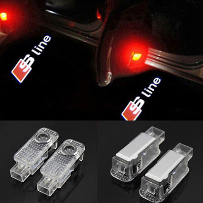 CREE Laser LED Door AUDI SLine Puddle Courtesy Projector Shadow Lights Lamp Logo