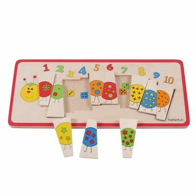 Beleduc Children Wooden Caterpillar Matching Puzzle Jigsaw Early Learning 11008