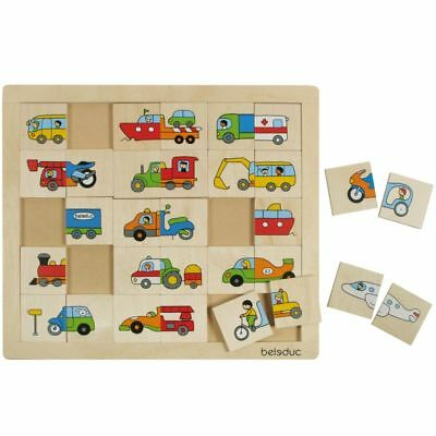 Beleduc Children Kid Wood Transport Match/Mix Puzzle Jigsaw Early Learning 11007