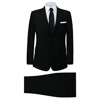 vidaXL Men's 2 Piece Business Suit Black Size 54 Wedding Jacket Trousers Cloth