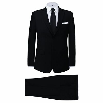 vidaXL Men's 2 Piece Business Suit Black Size 52 Wedding Jacket Trousers Cloth