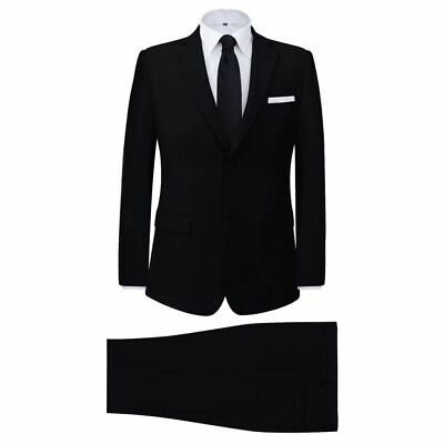 vidaXL Men's 2 Piece Business Suit Black Size 56 Wedding Jacket Trousers Cloth