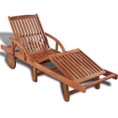 vidaXL Solid Acacia Wood Sun Lounger 200x68x83 cm Outdoor Chaise Lounge Bed