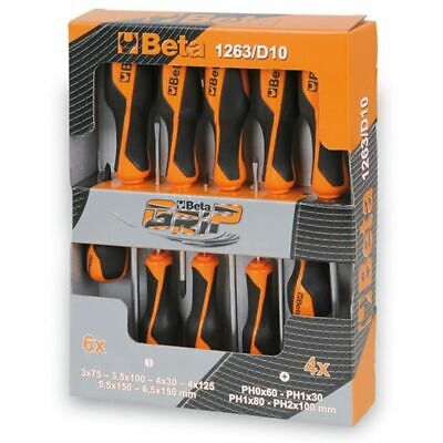 Beta Tools 10 Piece Slotted/Phillips Head Screwdriver Set 1263/D10 012630010