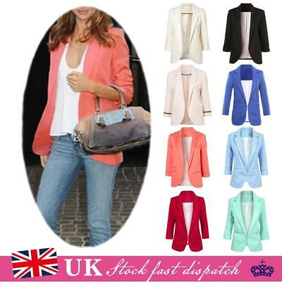 UK Womens Candy Colors Three Quarter Sleeve Suit Jacket Blazer Size 6 8 10 12 14